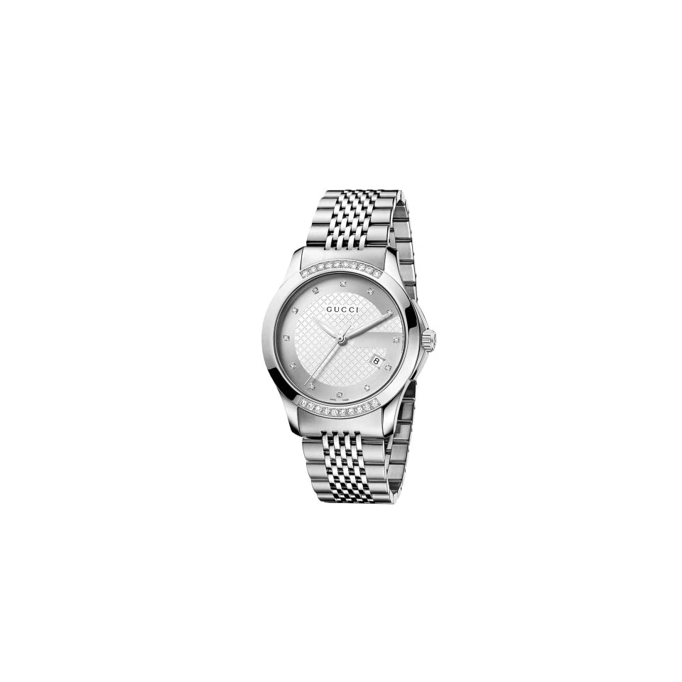1bea4e93d56 Gucci Mens YA126407 G Timeless Medium Diamond Silver Dial Steel Watch