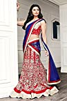 Cotton Heavy Embroidered Red Semi Stitched Bridal Lehenga - EBLC116327190