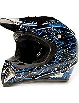 Adult Off Road Helmet DOT Dirt Bike Motocross ATV Motorcycle Offroad Black Blue Splatter ( Medium )