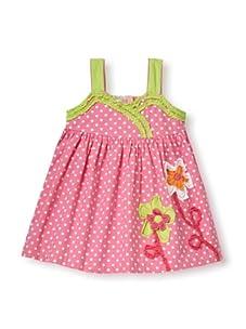 Beetlejuice Girl's 2T-6X Butterfly Kisses Polka Dot Ruffle Dress (Pink)