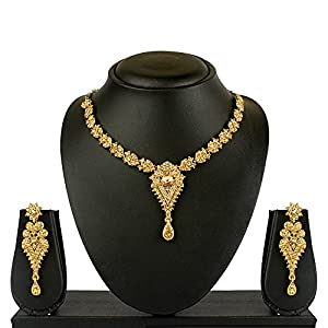 V. K. Jewels Gold Plated Chain Necklace With Earrings For Women- Nkz1035G