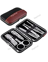 7-in-1 Stainless Steel Nail Care Manicure Set Nail Clippers Scissors File with PU Leather Case HBI-151154