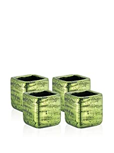 Barreveld International Set of 4 Square Distressed Ceramic Pots (Green)