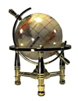 Unique Art 6-Inch Tall Pearl Swirl Ocean Mini Table Top Gemstone World Globe with Gold Tripod