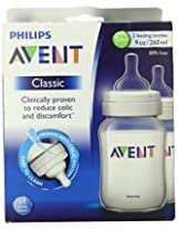 Philips AVENT 9 Ounce BPA Free Classic Polypropylene Bottles 2-Pack