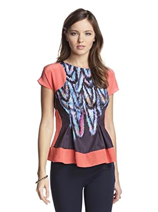 San & Soni Women's Taylor Feather Print Top (Twilight Blue)