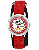 Disney Kids W000241 Mickey Mouse Stainless Steel Time Teacher Watch with Red Nylon Band