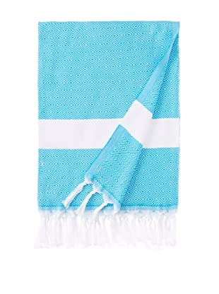 Nine Space Herringbone-Weave Fouta Towel (Turquoise)