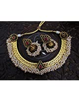 One Gram Gold Plated Traditional Cluster Pearl Jewellery Buy Online At LittleFingers