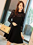 OnlyUrs Korean Fashion Style Lace Hollow Narrow Waist Dress