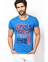 Blue Slim Fit Crew Neck T Shirt