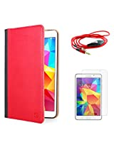 VanGoddy Mary Portfolio Multi Purpose Book Style Slim Flip Cover Case for Samsung Galaxy Tab4 T330/T331 8.0 (Red) + AUX Cable + Matte Screen