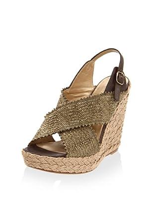 Stuart Weitzman Women's Toogood Wedge Sandal (Swamp Wrinkle Raffia)