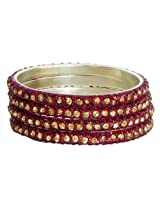 DollsofIndia Four Red with Golden Stone Studded Bangles - Stone and Metal - Red