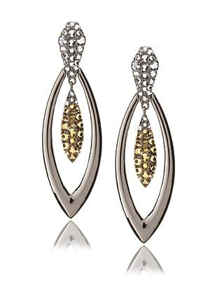 Judith Leiber Gunmetal Double Oval Earrings