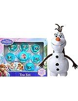 Disney Frozen Childrens Tea Set Includes 6 Cups, 6 Saucers, 1 Teapot And Disney Frozen Olaf Plush Backpack