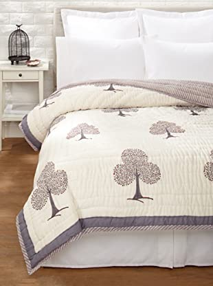 Suchiras Tree of Life Quilt (Grey/Orange Red)