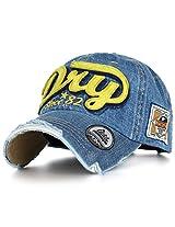 Ililily Men's Distressed Vintage Denim Dry Baseball Leather Snapback Trucker Hat Dark Blue Denim AD