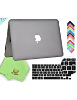 "UES-LIMITED 2in1 Smooth Soft-Touch Matte Frosted Hard Shell Case with Silicone Keyboard Cover for MacBook Pro 13"" with Retina Display + Microfibre Cleaning Cloth, Gray"