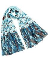 Large Small Polka Dots Long Scarf Shawl Sarong - Blue