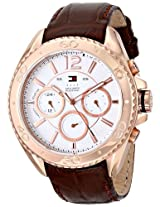 Tommy Hilfiger Men's 1791031 Rose Gold-Tone Watch with Brown Leather Band