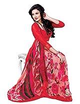 Riti Riwaz Pink saree with unstitched blouse RVL335B