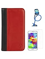 VanGoddy Mary Portfolio Self Stand Book Style Case Cover For Samsung Galaxy S5 G900 (Red) + Long Flexible Stand + Matte Screen