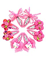 Wrapables Bows and Flowers 8 Piece Assorted Hair Clips for Toddler Girl, Hot Pink