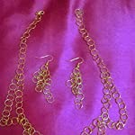 Golden necklace with earrings set- handmade- new