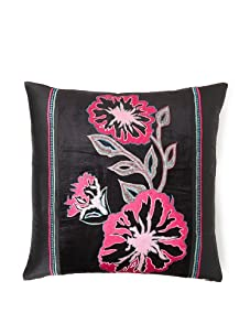"Design Accents Fuchsia Flower Throw Pillow, Black, 20"" x 20"""