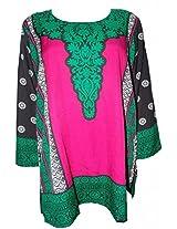 Odishabazaar Women Crepe A-Line Kurta (Fmk-230 _Pink _Small)