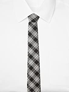 Original Penguin Men's Clarkston Plaid Tie, One Size (Black)