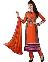 Peel Orange Semi Stitched Churidar Kameez Suit