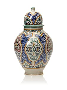 Hand-Painted Ceramic Jar (Multi)