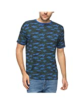 Slub Men's Round Neck T-Shirt (SLTS000748A_Blue_Large)