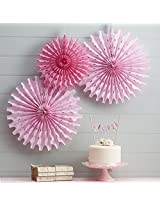 My Party Suppliers Tissue Paper Fan Decorations / Snowflake Tissue Paper fan decoration - Light Pink (Set of 3)
