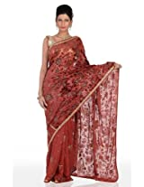 Chhabra555 Brown Georgette Embroidery Saree