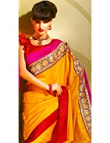 Gold Fusion and Magenta Designer Sari with Metallic-Thread Embroidered Patch ...