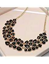 Geometric pattern mosaic stones necklace in black color