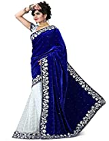 Kaizen Export Women Blue Velvet Saree (KEsareeBvelvt Freesize)