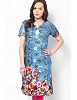 Cotton Blend Blue Kurti
