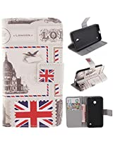 635 Case Nokia lumia 635 wallet Flip Kickstand Case,Tribe-Tiger Stylish Dandelion Witness Love Series Wallet PU Leather Flip Cover Case,[Stand Built-In Card Slots Feature] Flip Folio Case Cover for for Nokia lumia 635(UK Flag)