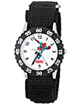 Marvel Comics Kids' W000106 Time Teacher Stainless Steel and Nylon Spider-Man Watch