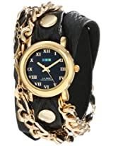 La Mer Collections Women's LMMULTI2016 Black Magic 14k Gold-Plated Watch with Wraparound Black Leather Band