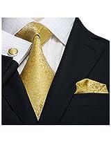 "Landisun 28C Floral Pattern Mens Silk Tie Set: Tie+Hanky+Cufflinks Gold Yellow, 3.25""Wx59""L"