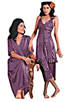 Indiatrendzs Women's Nighties Sexy Hot Nighty Nightgown 3pc Set -Freesize