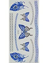 Spestyle Temporary Jewelry Tattoos Blue And Silver Metallic Jewelry Tattoos Jewelry Chain, Butterfly And Feather.