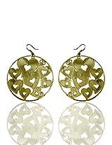 Optionsz Golden Era Desinge Heart Shape Circle Golden Color Round Hanging Dangle Earring , OPTERJPAZ244