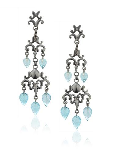 Robin Rotenier Cascade Earrings, Silver/Blue Topaz