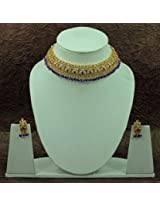 Choker Shape Blue Crystal Necklace Set - Necklaces by Jaipur Mart